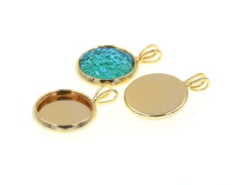 10pcs of 12mm Shiny Gold Tone Charm Drop Pendant Tray Bezel Blanks Settings, Made with Brass