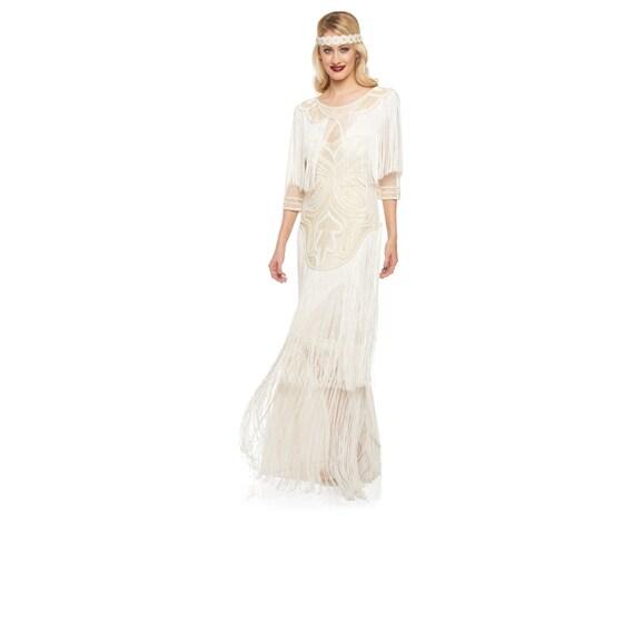 US4 UK8 AUS8 EU36 Hochzeit Kleid Creme Glam Maxi Kleid mit