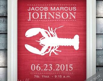 Lobster - Wall Decor - Nautical Nursery Art - Birth Announcement - Baby Nursery - Ocean Under the Sea - Newborn Gift - Art Print or Canvas