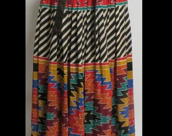 Vintage Wayne Clark Aline Marelle Boho Skirt Pockets Size 6 Leather Needs Needs TLC AS-IS