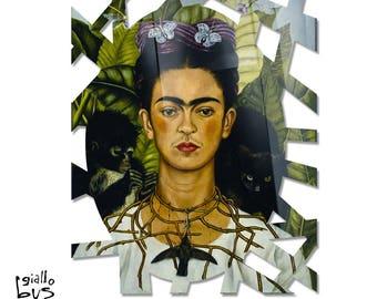 GIALLOBUS-Quadro Plexiglass-shaped acrylic glass-Frida Kahlo-Self-portrait with Thorn necklace