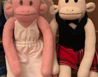 Bride and groom sock monkeys