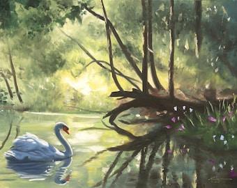 Mute Swan 11 x 17 print (image 10.5 x 16)  by artist RUSTY RUST / S-92-P