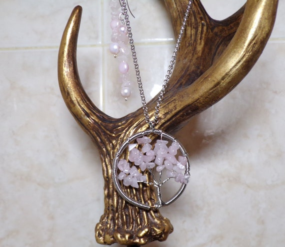 Tree of life and more. Rose quartz pendent and earrings