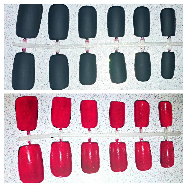 Red Bottom Fake Nail Set Press on Nails Glue on Nails Black
