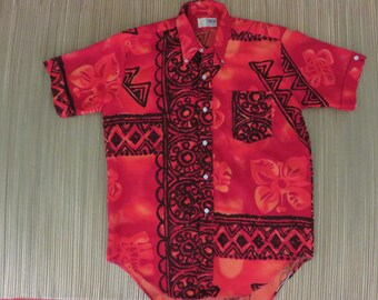 Vintage Hawaiian Shirt 50s TANOA Tribal Tiki Tapa Mens - M - Oahu Lew's Shirt Shack