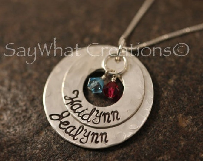 Custom Hand Stamped Sterling Silver 2 Stacked and Textured Washers Necklace for Mothers Grandmothers Etc