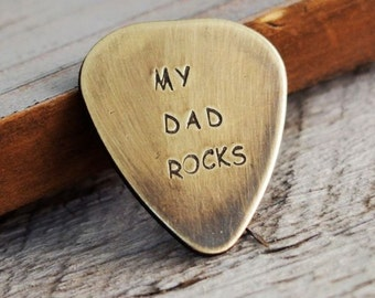 Hand stamped Gift for Men, gift for father, dad, daddy, godfather, my dad rocks, rustic guitar pick, guitarist, mens gift, personalized gift