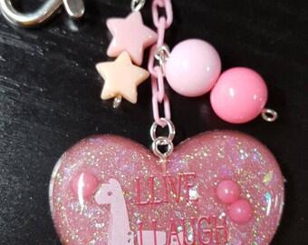 Resin Fairy Kei Pastel Goth Cute Llama Purse Charm Keychain
