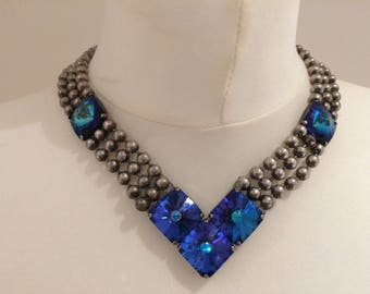 Original 1980s Ichimori IKUO necklace and Swarokski Blue stone crystals
