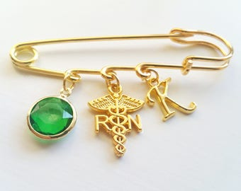 RN Registered Nurse Medical Personalized Initial Letter and Birthstone Graduation Gift Gold Tone Brooch Pin