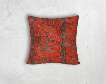 Red and Teal Pillow Cover, Heart Scroll and Distressed Texture Pattern Throw Cushion Cover, Old Iron Railing Pattern Home Decor