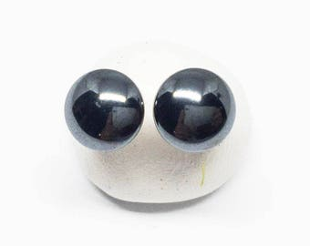 Hematite Gemstone . TINY 6mm Round Domes . Sterling Silver Posts Studs Earrings . Metallic Black Earrings . Free Shipping . E17092