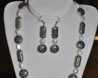 Necklace Earrings Set Brighton Inspired Freshwater Pearl Silver #65 One Of A Kind