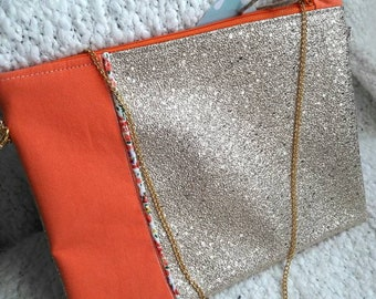 Gold and orange clutch with chain, wedding clutch