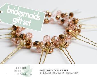 bridesmaid jewelry sets | bridesmaid gift sets | bridesmaids gifts | bridesmaid set | bridal party gifts | bridal jewelry set | pink wedding