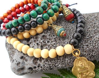 Prayer Beads, Mala, Mala Beads, 108 Bead Malas, Buddhist Beads, Knotted Malas, Long Bead Necklace, Yoga Jewelry, Meditation Beads