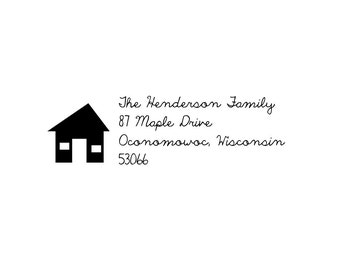 ranch house rubber address stamp
