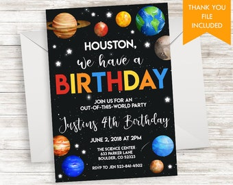 Space party invite Etsy