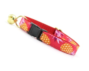 "Tropical Cat Collar - ""Pineapple Berry"" - Hawaiian Punch Red Cat Collar Breakaway / Fruit / Summer / Cat, Kitten & Small Dog Sizes"