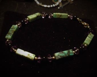 Boho Aventurine Bracelet with Purple Accents