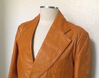 Vintage Leather Peanut Brown Blazer, Mens Jacket