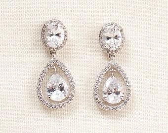 Wedding Bridal Chandelier Cubic Zirconia and Swarovski Crystal Earrings JSB10108ESilver
