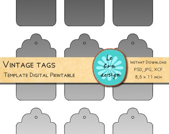 Printable Tags Template diy digital collage sheet photoshop, gimp, vintage forms, instant download