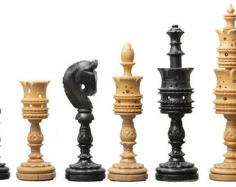 """The Lotus Series Pipe Shaped Wooden Chess Pieces in Ebony & Box Wood - 5.75"""" King.SKU: M0046"""