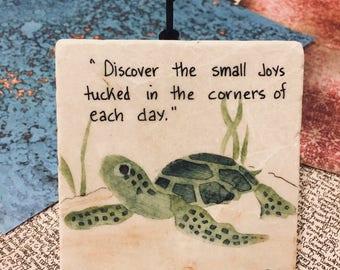Turtle Art, Turtle Painting on Tile, Oil Painting, Turtle Oil Painting, Tiles, Small Art, Reptile Painting, Tile with handwritten verse.