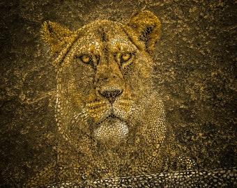 Mosaic Print, Mosaic Wall Art, Lion Mosaic, Printable Photography, Room Poster, Nursery Decor, Large Wall Art Print, Digital Download.