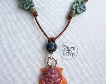 Double Stacked Scallop Shell Leather Necklace - Boho - SoFlo