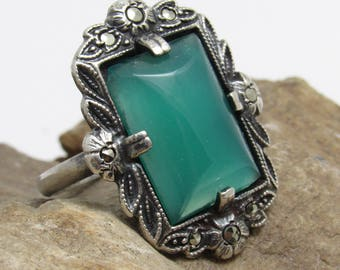 Art Deco Sterling Ring Marcasite Chrysophrase Antique Jewelry