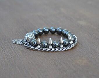 CLOSEOUT Silver Spike Bracelet - Beaded Stretch Bracelet Stack - Bracelet Stack Set - Gunmetal Bead Bracelet - Arm Candy Charm Bracelet
