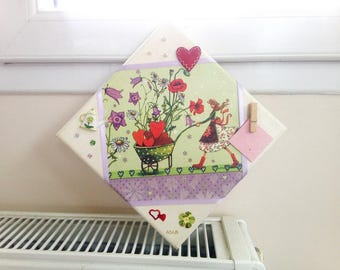 3d picture(Board), girl in a multitude of hearts, flowers