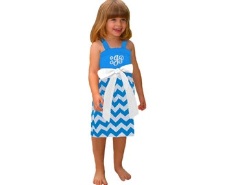 Light Blue + White Chevron Girls Monogram Dress