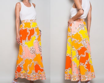 1960s// MR. DINO// Psychedelic Floral Print// Orange Coral// Maxi Skirt// XS