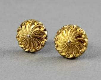 Gilded Pinwheel - vintage glass button post earrings, up cycled, repurposed gold earrings