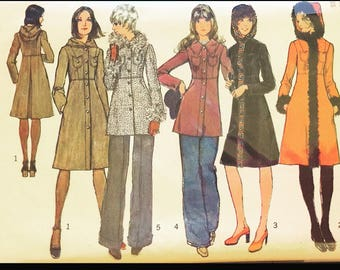 Vintage 70s Classic Russian Princess Rocker Coat Sewing Pattern 5255 B34