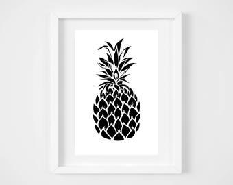 DIGITAL DOWNLOAD,  Pineapple wall decor, Pineapple Art, Pineapple, Black Pineapple