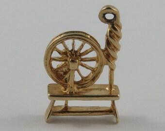 Spinning Wheel 10K Gold Vintage Charm For Bracelet
