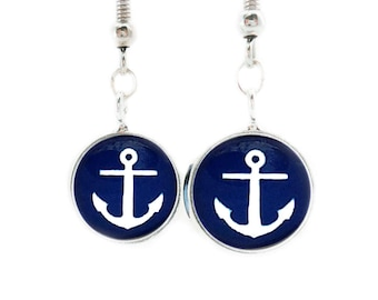 Blue Anchor Earrings Hook Dangle Nautical Blue and white