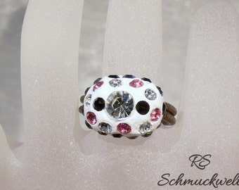 Statement ring, cocktail ring, ring, embossed ring rail, wire ring, Crystal ring, ring pink stones, ring black stones