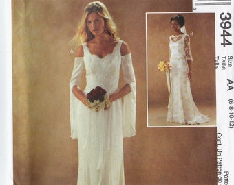 Wedding gowns pattern with train and bell sleeve variations Misses'/Miss Petite sizes 6, 8, 10, 12 McCalls 3944 UNCUT & FF (2003) K1202