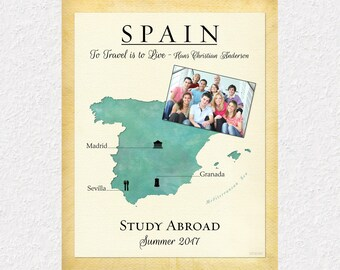Personalized Study Abroad Gift Print, To Travel is To Live Quote, Exchange Student Gift Idea, Map of Spain, Travel Gift, Choose Any Country