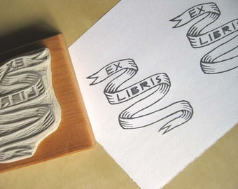 Ex Libris Banner / Bookplate - Hand-Carved Rubber Stamp - Custom Name Option