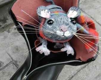 Little Grey Mouse - Art Shoe Sculpture