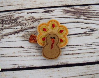 Handcrafted Tan Yellow Red and Orange Turkey Feltie Clip - Small Hair Clip - Thanksgiving Hair Clip - Fall Feltie Clip - Fall Baby Girl Bows