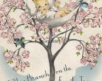 Vintage Baby Digital Download Printable Image wall art Illustration New Branch in the Family Tree