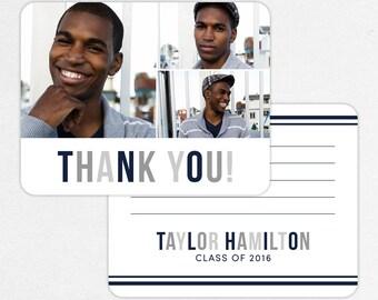 Graduation Thank You Card, Photo Graduation Thank You, Printable Graduation Thank You, Printed Thank You, Boy Graduation, Modern, Gray, Navy